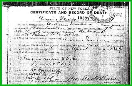 1899 NYC death cert (Annie Neary)