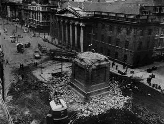1966 March - Nelson's Pillar remains, O'Connell St, Dublin